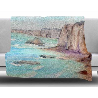 Cliffs At Normandi by Cyndi Steen Fleece Blanket Size: 60 W x 80 L