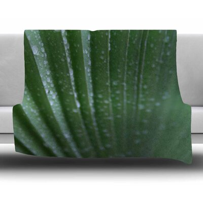Palm Frond by Cyndi Steen Fleece Blanket Size: 50 W x 60 L