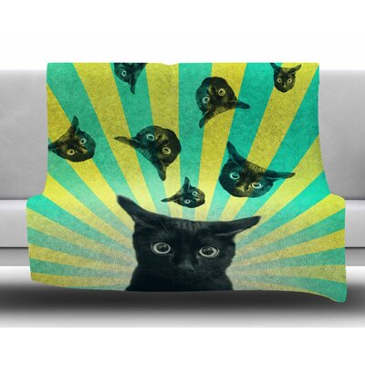 Cat Explosion by Cvetelina Todorova Fleece Blanket Size: 60 W x 80 L