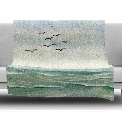Flock Flying Low by Cyndi Steen Fleece Blanket Size: 60 W x 80 L