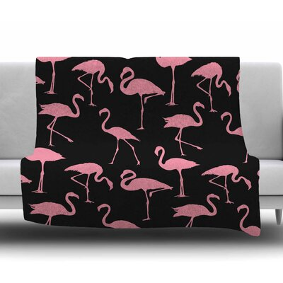 Pink on Black Fleece Blanket Size: 50 W x 60 L