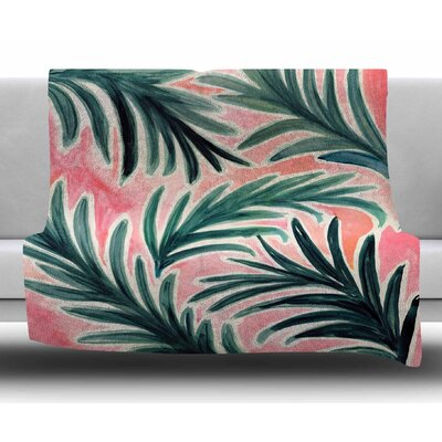 Lush Palm Leaves by Crystal Walen Fleece Blanket Size: 50 W x 60 L
