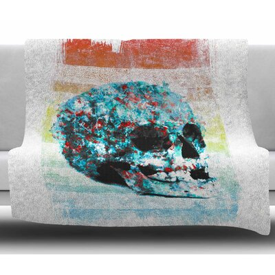 Floral Skully 2 by Frederic Levy Hadida Fleece Blanket Size: 50 W x 60 L