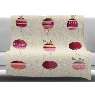 Happy Radishes by Judith Loske Fleece Blanket Size: 60 W x 80 L