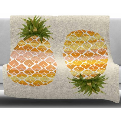 Happy Pineapples by Judith Loske Fleece Blanket Size: 50 W x 60 L