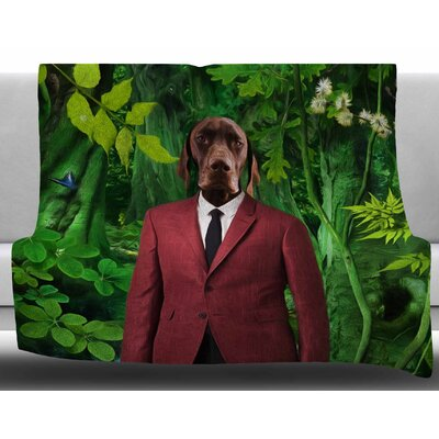 Into The Leaves N2 by Natt  Green Dog Fleece Blanket Size: 60 W x 80 L