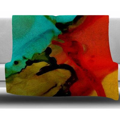 Caldera by Abstract Anarchy Design Fleece Blanket Size: 50 W x 60 L, Color: Red/Green
