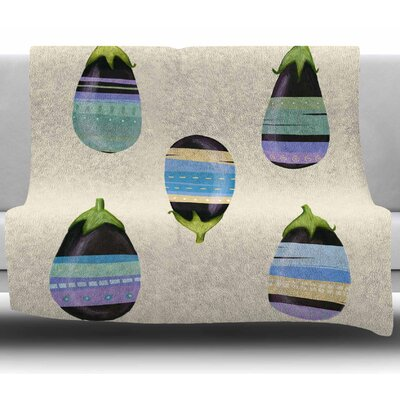 Happy Aubergines by Judith Loske Fleece Blanket Size: 50 W x 60 L