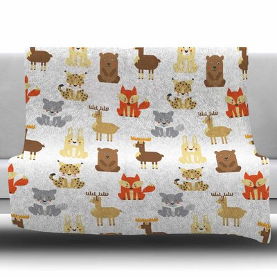 Retro Animals by Petiti Griffin Fleece Blanket Size: 50 W x 60 L