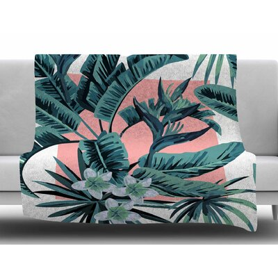 Monstera Fleece Blanket Size: 50 W x 60 L