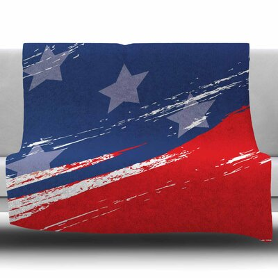 Red White Blue by NL Designs Fleece Blanket Size: 50 W x 60 L