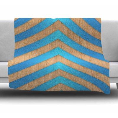 Turquoise Chevron by Marta Olga Klara Fleece Blanket Size: 50 W x 60 L