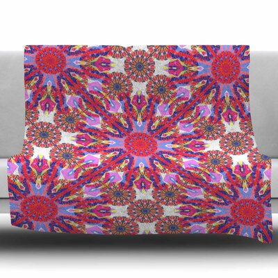 Kaleidoscopic Floral by Miranda Mol Fleece Blanket Size: 50 W x 60 L