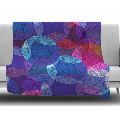 Mandala In Blue by Fernanda Sternieri Fleece Blanket Size: 60 W x 80 L