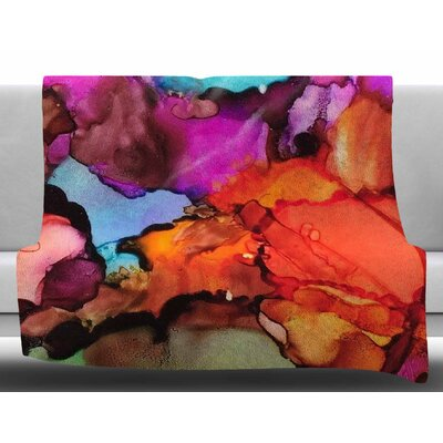 Caldera by Abstract Anarchy Design Fleece Blanket Size: 60 W x 80 L, Color: Orange/Pink