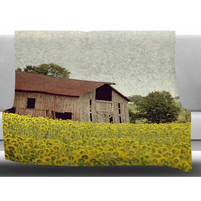Field Of Sunflowers by Angie Turner Fleece Blanket Size: 50 W x 60 L
