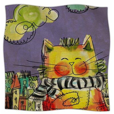 Urban Cat With Scarf By Carina Povarchik Fleece Blanket Size: 80 L x 60 W x 1 D