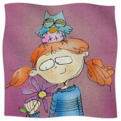 Cute Girl With An Owl Pet By Carina Povarchik Fleece Blanket Size: 80 L x 60 W x 1 D