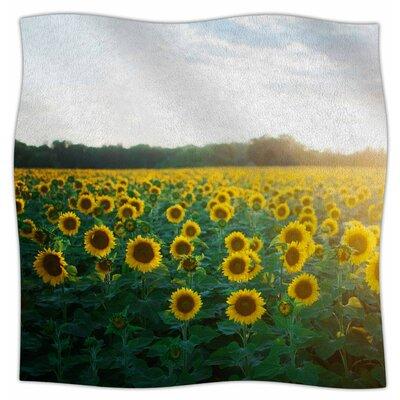 Sunflower Fields By Chelsea Victoria Fleece Blanket Size: 80 L x 60 W x 1 D