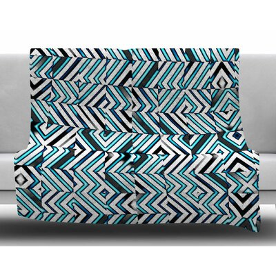 Maze Geometric Abstraact 2 by Dawid Roc Fleece Blanket Size: 60 W x 80 L
