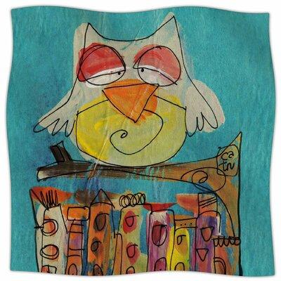 Urban Owl Teal By Carina Povarchik Fleece Blanket Size: 60 L x 50 W x 1 D