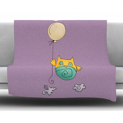 Lechuzita en Ballon by Carina Povarchik Fleece Blanket Size: 50 W x 60 L