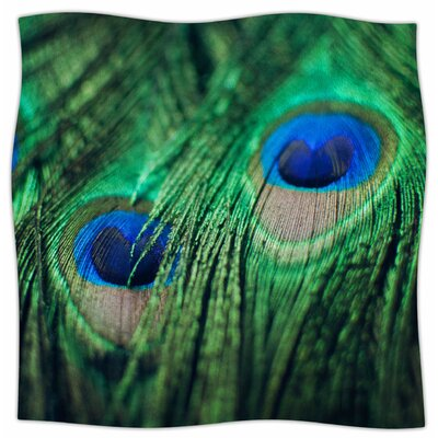 Peacock Feather By Chelsea Victoria  Fleece Blanket Size: 80 L x 60 W x 1 D
