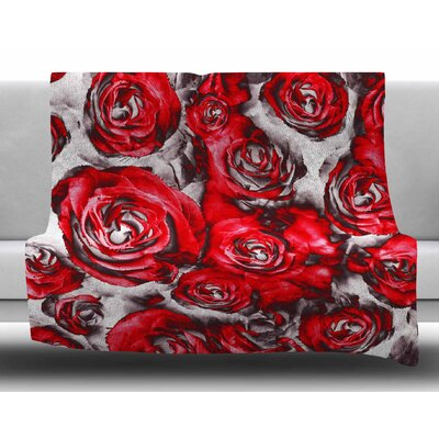 Red Roses Floral Abstract by Dawid Roc Fleece Blanket Size: 50 W x 60 L