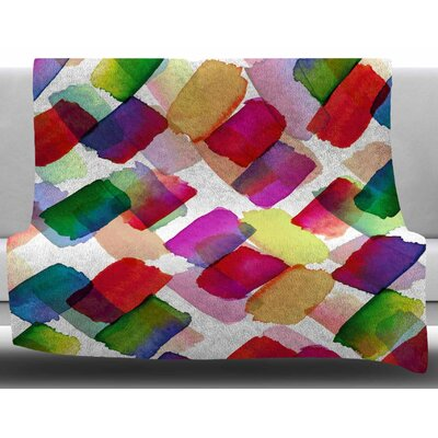 Strokes Of Genius by Ebi Emporium Fleece Blanket Size: 60 W x 80 L, Color: Purple/Yellow
