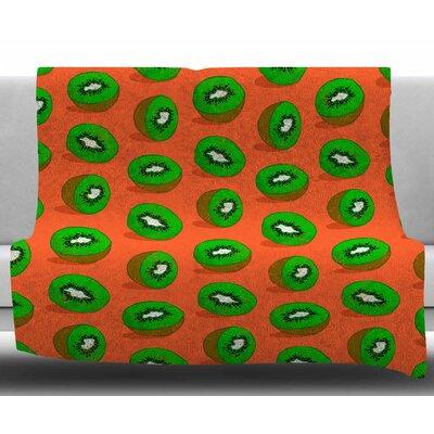 Kiwifruit by Evgenia Fleece Blanket Size: 60 W x 80 L