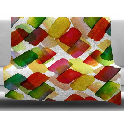 Strokes Of Genius by Ebi Emporium Fleece Blanket Size: 50 W x 60 L, Color: Red/Green