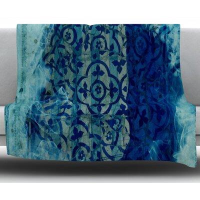 Mosaic in Cyan by Frederic Levy Hadida Fleece Blanket Size: 50 W x 60 L