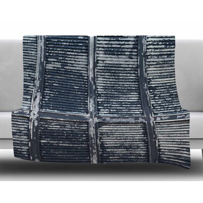 Rustic Blue Shutters By Susan Sanders Fleece Blanket Size: 80 L x 60 W x 1 D