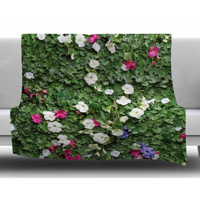 Flower Vine Wall By Susan Sanders Fleece Blanket Size: 80 L x 60 W x 1 D