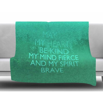 Kind by Suzanne Carter Fleece Blanket Color: Green, Size: 50 W x 60 L