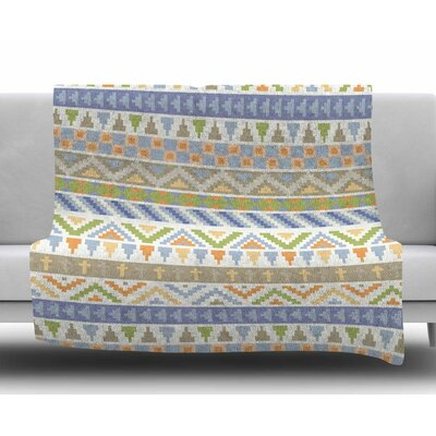 Happy Tribal Pattern by Noonday Design Fleece Blanket Size: 60 W x 80 L