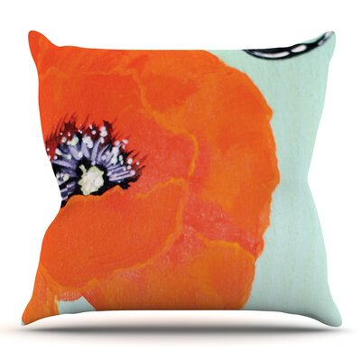 Vintage Poppy by Christen Treat Outdoor Throw Pillow