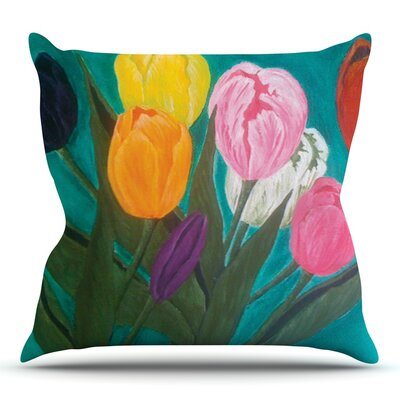 Tulips by Christen Treat Outdoor Throw Pillow