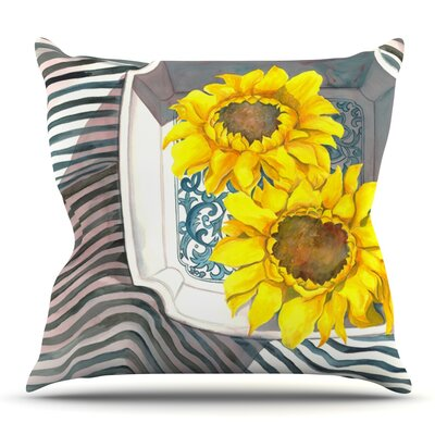 Finall Sunflower by S. Seema Z Outdoor Throw Pillow
