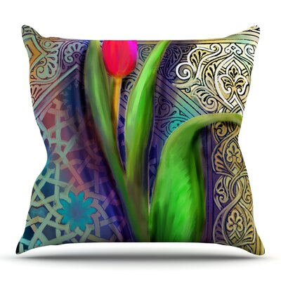 Arabesque Tulip by S. Seema Z Outdoor Throw Pillow