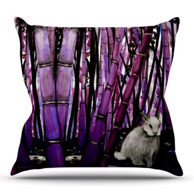 Bamboo Bunny by Theresa Giolzetti Outdoor Throw Pillow