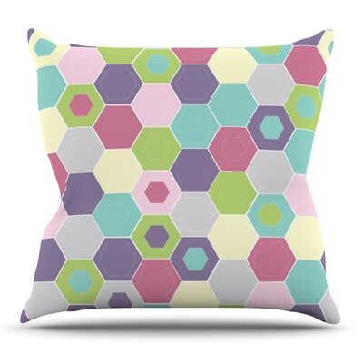Pale Bee Hex. by Nicole Ketchum Outdoor Throw Pillow