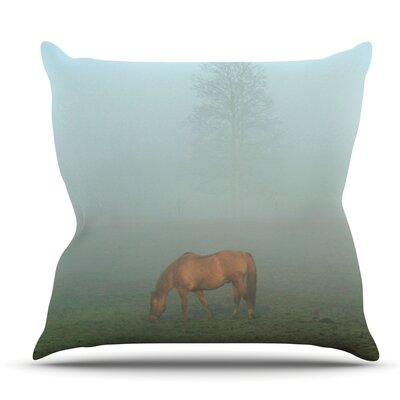 Horse in Fog by Angie Turner Outdoor Throw Pillow