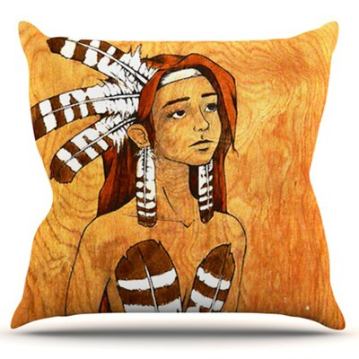 Owl Feather Dress by Brittany Guarino Outdoor Throw Pillow
