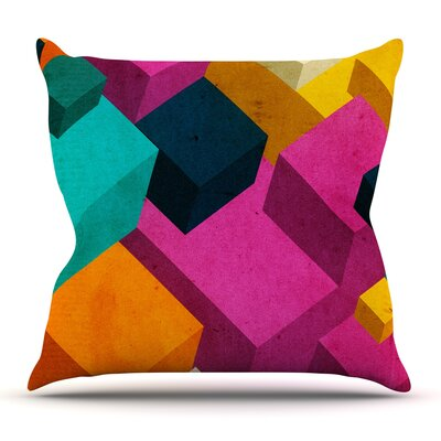 Happy Cubes by Danny Ivan Outdoor Throw Pillow