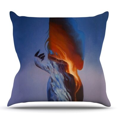 Volcano Girl by Lydia Martin Outdoor Throw Pillow