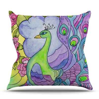 Stained Glass Watercolor Peacock by Catherine Holcombe Outdoor Throw Pillow