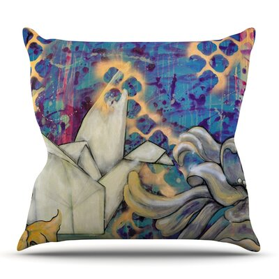 Peonies and Crane by Kira Crees Outdoor Throw Pillow