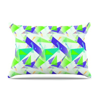 Confetti Triangles Blue by Alison Coxon Green Featherweight Pillow Sham