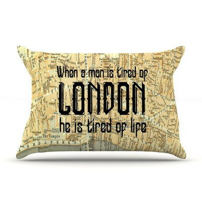London Cush by Alison Coxon Featherweight Pillow Sham, Map